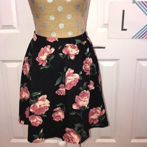 Dresses & Skirts - Black and pink floral mini skirt- large misses